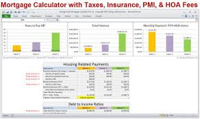 Mortgage Calculator With Taxes Insurance Pmi Hoa Piti Extra Payments Debt To Income Ratio Home Loan Calculator In Excel Digital Download