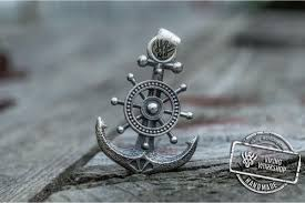 anchor symbol with ship steering wheel pendant sterling silver handmade jewelry viking work