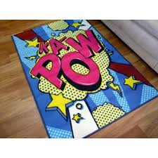 childrens area floor playmat rugs kapow 100x150cm