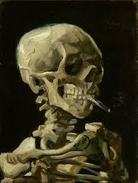 skull of a skeleton burning cigarette artist vincent van gogh