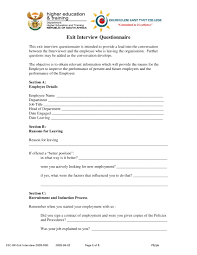 10 Employee Exit Questionnaire Examples Pdf