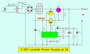 Power Supply Design Using Lm317 0 30v Variable Power Supply Circuit Diagram At 3a