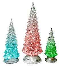 "LED Lighted Acrylic Christmas Trees Holiday Decoration Set of 3 Assorted  Sizes 10"", 7.5&quot"