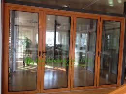 aluminum folding glass door for balcony durable aluminum bi folding door with wood color