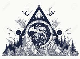 Eagle Tattoo Art Mountains Crossed Arrows Forest Strological