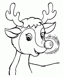 Cool Rudolph The Santa Reindeer Christmas Coloring Page