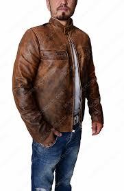 brown distressed mens leather jacket