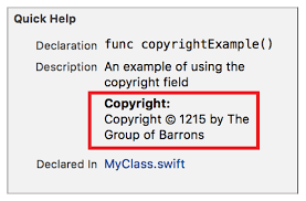 markup formatting reference copyright example