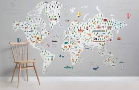 kids grey map wallpaper children s