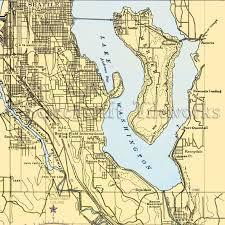 Washington Newcastle Lake Washington Mercer Island Nautical Chart Decor