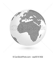 Planet Earth Globe With Black Squared Map Of Continents Africa And
