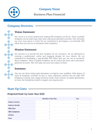 Company Overview Templates Business Plan Financial Template Pdf Templates Jotform