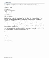 Resume Cover Letter Mechanic Resume For Study