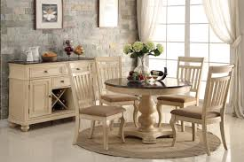 Country Style Kitchen Table Set 48inch Round Off White Brown Cherry Dining Table Set Cottage