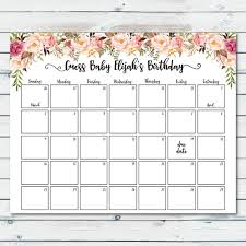 Floral Baby Due Date Prediction Calendar Printable Boho Baby Etsy