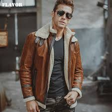 mens real leather jacket motorcycle pigskin genuine leather jackets with faux shearling liner winter warm coat