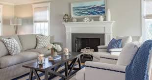 coastal interiors with navy blue white striped area rugs the look coastal decor ideas and interior design inspiration images