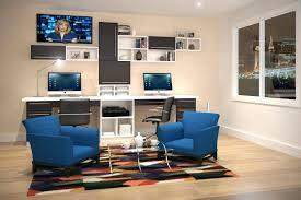 custom office furniture design. Dual Desk Home Office Furniture Design Monitor Ideas With Custom Built In Bookshelves Desks