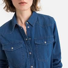 <b>Рубашка джинсовая</b> с длинными рукавами синий потертый <b>La</b> ...