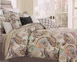 cynthia rowley king paisley aqua lime green blue brown peach 6 pc comforter set