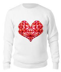 <b>Свитшот унисекс хлопковый</b> Сердце геометрическое оттенки ...