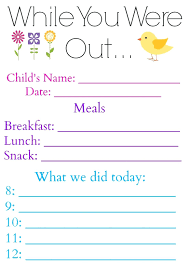 Printable Printable Babysitter Flyer While You Were Out Daily Log