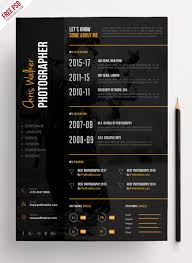 Photographer Resume Template Cool Photographer Resume CV PSD Template PSDFreebies