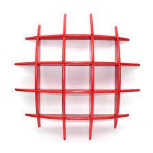 red wall shelf wooden shelves books cd