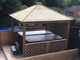 gazebo wooden hot tub cover jacuzzi shelter spa cover and decking base