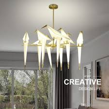 modern origami crane bird pendant light wall lamps nordic style creative design personality lamp hanging hotel hall parlor bedroom bar lighting ceiling