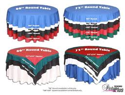 round table cloths what length table cloth and or overlay we have 60 inch tables i