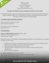 Earth Science Teacher Resume Sample Biological Science Teacher