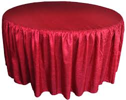 60 round ruffled fitted crushed taffeta tablecloth with skirt apple red 63608 1pc pk