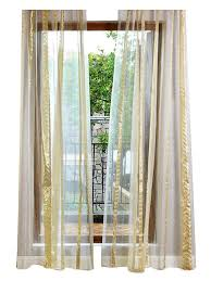Curtain Rods Modern Design Aside Bside Modern Style Sheer Curtains Rod Pockets Wrap Knitting Jacquard Flowers Design Metallic Window Decoration For Living Room Dining Room And