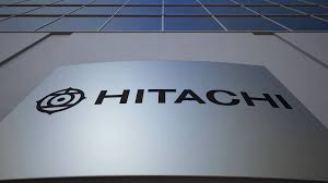 hitachi logo white. outdoor signage board with hitachi logo. modern office building. editorial 3d rendering stock video footage - videoblocks logo white