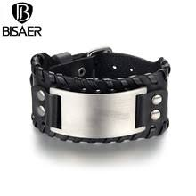 Dropshipping HOT SALE Stainless Metal Black Leather Bangle ...