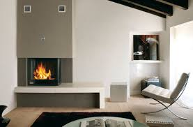 Decorations:Inspiring Wall Mounted Corner Fireplace Decor With Longue Chair  On The Laminated Wooden Floor
