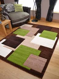 Tempo Brown Green Square Design Thick Quality Modern Carved Rugs. Available  in 6 Sizes (160cm x 220cm): Amazon.co.uk: Kitchen & Home