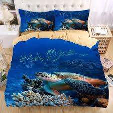 whole sea turtle 3d bedding set print duvet cover set twin queen king beautiful pattern real effect lifelike bedclothes bedding sets queen bedding