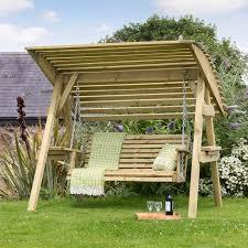 miami wooden 3 seater garden swing seat