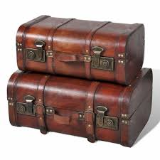 vidaXL <b>Wooden Treasure Chest 2</b> pcs Vintage Brown Sale, Price ...