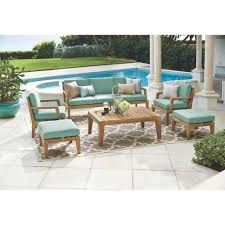 home decorators collection bermuda 6 piece all weather eucalyptus wood patio seating set with