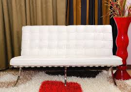 button tufted full leather modern loveseat