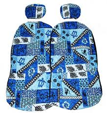 hawaii car seat cover br separated headrest br 40 blue tapa br quilted