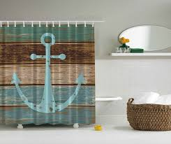 anchor bathroom decor. amazon.com: nautical anchor rustic wood - shower curtain water, soap, and mildew resistant machine washable hooks are included: home \u0026 kitchen bathroom decor