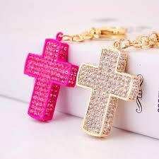 <b>free shipping 12pcs</b>/<b>lot</b> rhinestone christening cross keychain ...