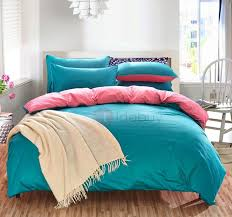 20 offwannaus solid green and bright pink color blocking cotton 4 piece bedding sets duvet cover