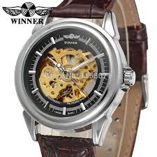 mens watch companies reviews online shopping mens watch wrg8022m3s8 winner automatic skeleton men gift box dress watch brown leather strap factory company shipping
