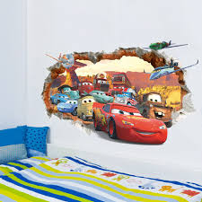 disney cars mcqueen wall stickers kids bedroom nursery racing cars mural decor 1 of 5free