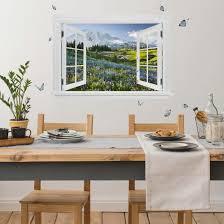 3d Wandtattoo Offenes Fenster Bergwiese Mit Blumen Vor Mt Rainier